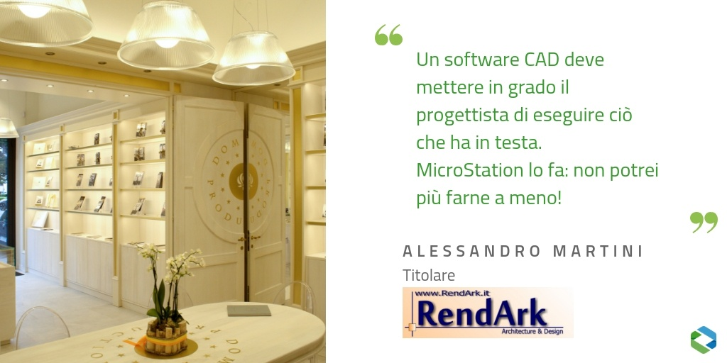 Citazione Alessandro Martini Rendark Arredo Negozi Dominus Production e Tuum