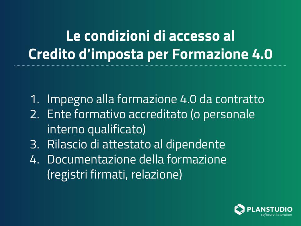 Condizioni di accesso al credito d'imposta per formazione 4.0