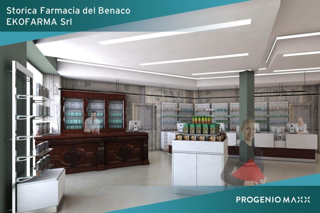 Ekofarma rendering progetto arredo farmacia microstation progenio