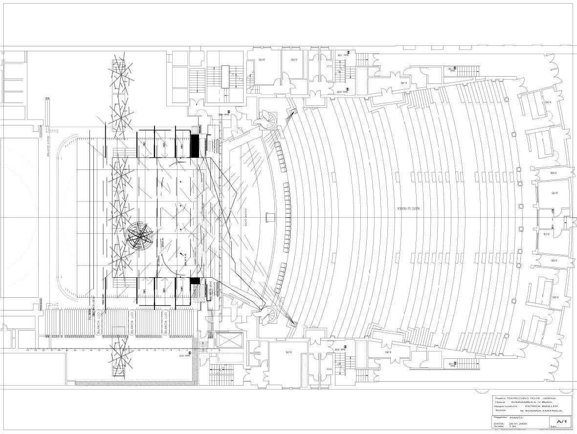 La Sonnambula Pianta della Scenografia realizzata con MicroStation