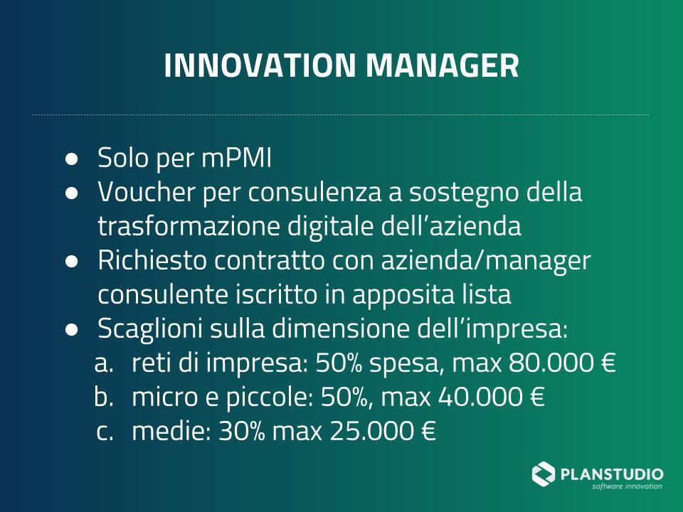 Voucher per innovation manager per il 2019
