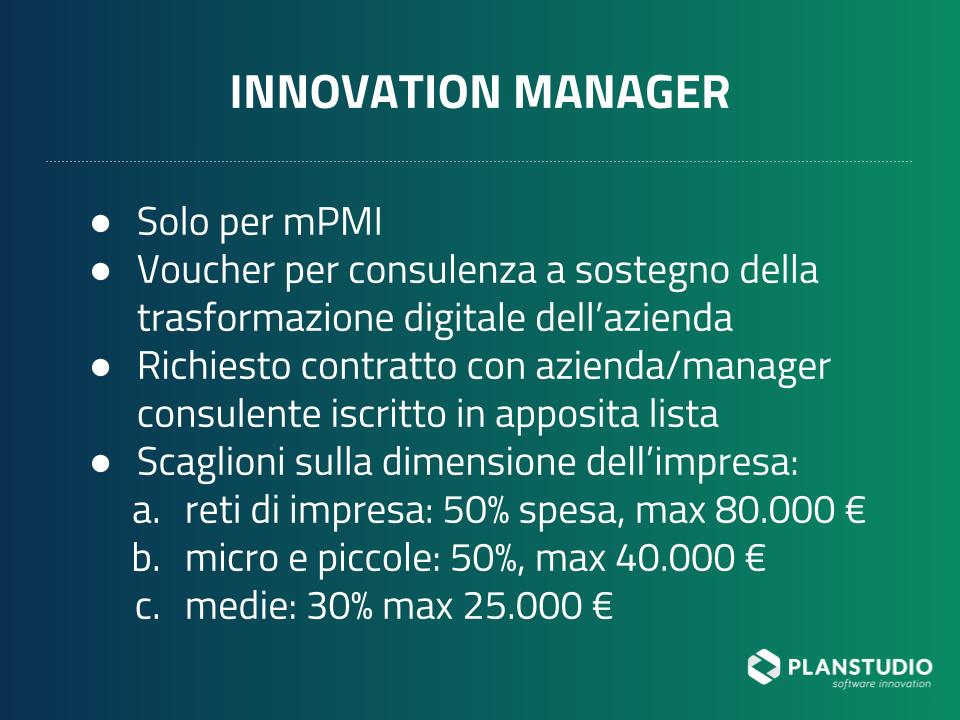 Voucher per innovation manager per il 2019