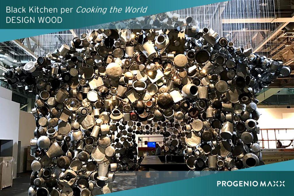 black kitchen cooking the world design wood arredo cucina con progenio cad cam-1