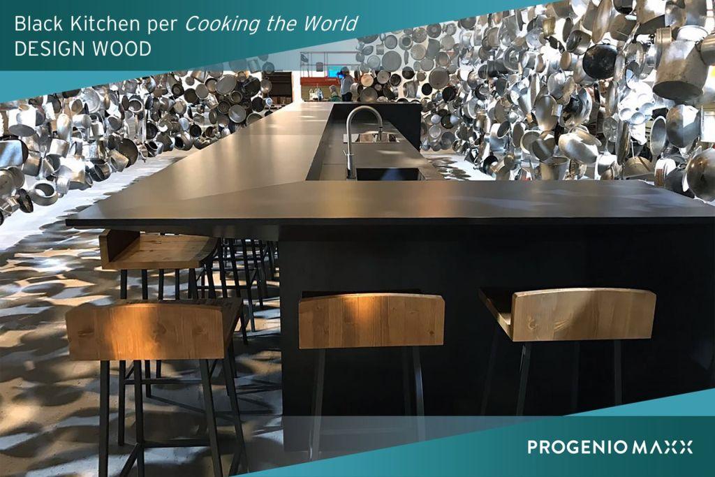 black kitchen design wood arredo cucina con progenio cad cam 2