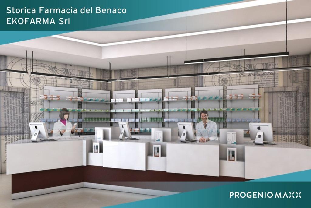 ekofarma bancone arredo farmacia progettato in 3d con progenio e microstation
